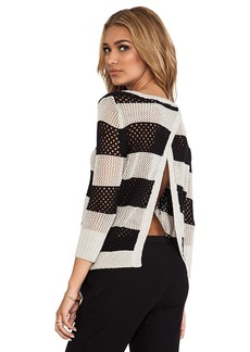 Central Park West Borneo Striped Pullover in Black