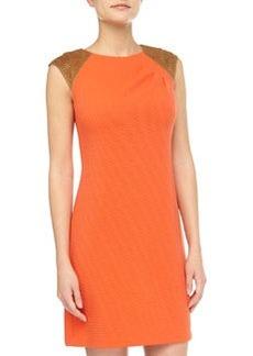 Kay Unger New York Laser-Cut-Shoulder Ribbed Dress, Orange