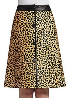 Lafayette 148 New York Spotted Leather Skirt