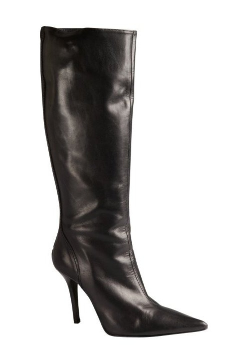 Charles David black leather back zip pointed toe stacked heel 'Dallas' boots