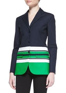 Michael Kors 3-Button Striped Stretch-Cotton Jacket