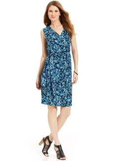 Jones New York Sleeveless Floral-Print Faux-Wrap Dress