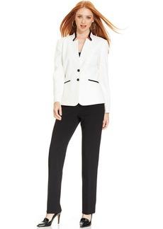 Tahari ASL Petite Contrast-Blazer Faux-Leather-Trim Pantsuit