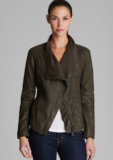 Elie Tahari Virginia Napoleon Drape Front Leather Jacket