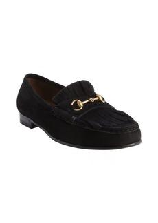 Gucci black suede tassel detail slip on loafers