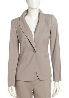 Lafayette 148 New York Shawl Collar Twill Blazer, Driftwood