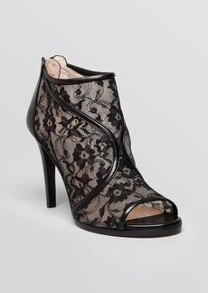 Stuart Weitzman Open Toe Platform Booties - Meshley Lace High Heel