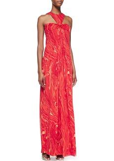 Michael Kors Agate-Print Halter Gown