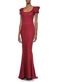 Zac Posen Short Sleeve Scoop Neck Gown, Burgundy Reptile