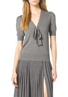 Michael Kors Puff-Sleeve Tie Sweater