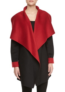 Lafayette 148 New York Relaxed Shawl Collar Coat, Black/Siren