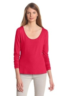Three Dots Red Women's Long Sleeve Classic Fit Open Crewneck