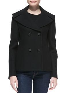 Michael Kors Melton Wool Double-Breasted Peacoat, Black