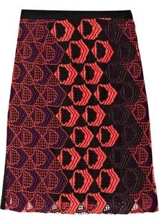 Derek Lam Embroidered cotton-blend macramé pencil skirt