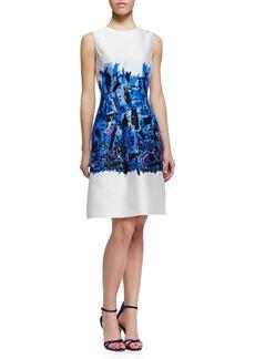 Lela Rose Embroidered Full-Skirt Sheath Dress