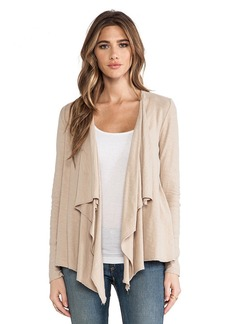 Michael Stars Long Sleeve Cascade Front Cardigan in Brown