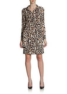 Diane von Furstenberg Taya Leopard Drawstring Silk Shirtdress