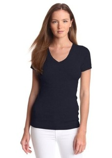 Three Dots Women's Short Sleeve Mid-V Neck Tee