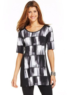 Style&co. Printed Faux-Leather-Trim Tunic