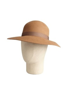 Lanvin caramel rabbit hair ribbon trim brimmed hat