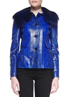 Michael Kors Python Jacket with Fox Fur Collar