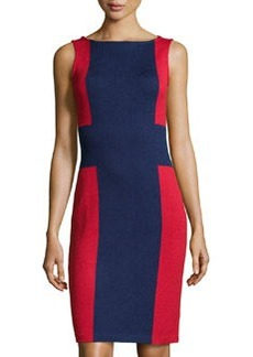St. John Colorblock Knit Sheath Dress, Ink/Ruby