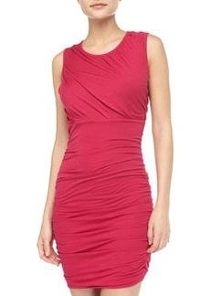 Diane von Furstenberg Angelina Short-Sleeve Ruched Dress, Pink Thistle