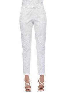 Roberto Cavalli Skinny Tonal-Print Pants, White