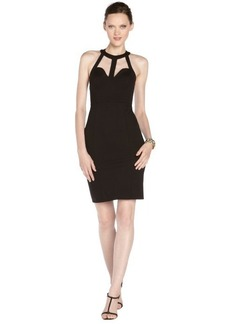 A.B.S. by Allen Schwartz black stretch cutout accent halter dress