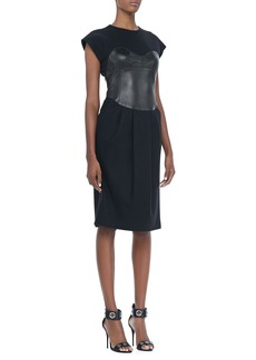Michael Kors Jersey Leather Bodice Dress