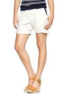 Colorblock boyfriend roll-up shorts