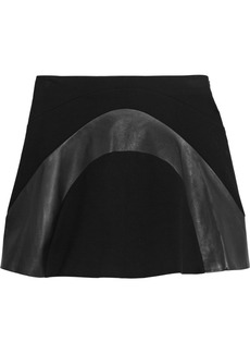 Diane von Furstenberg Tristana leather-paneled stretch-jersey mini skirt