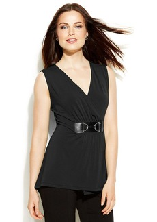 Alfani Petite Sleeveless Faux-Wrap Buckled Top