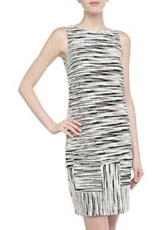 Isaac Mizrahi Sleeveless Slashed Stripe Print Mini Dress, Black/White