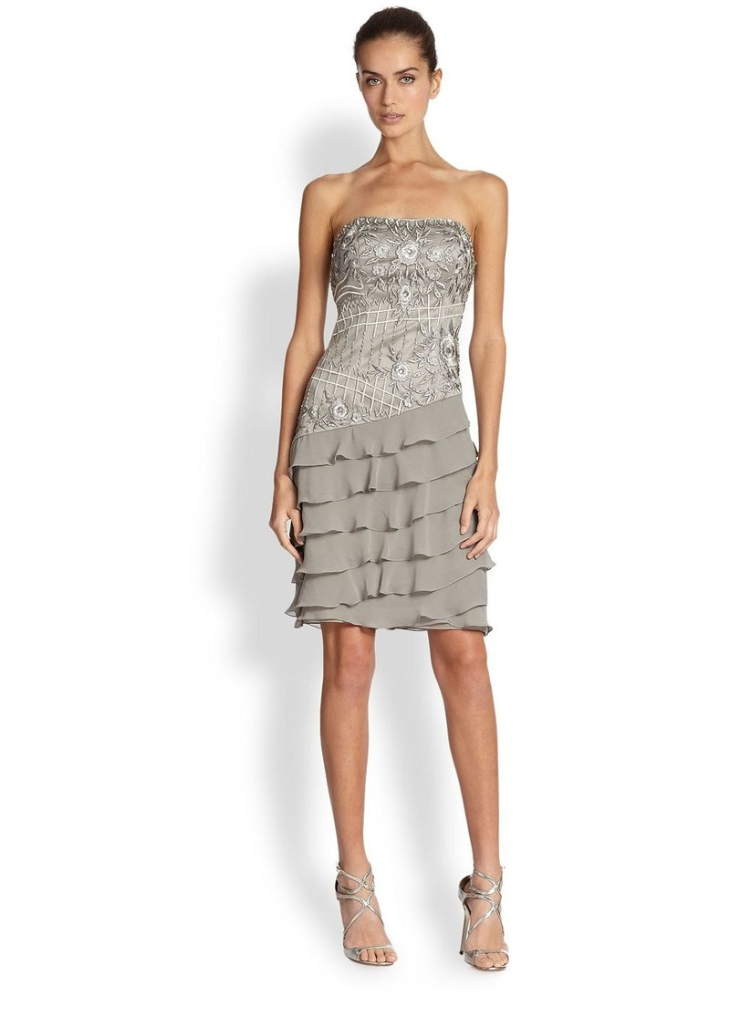 Sue wong sue wong strapless embroidered ruffle dress for Sue wong robes de mariage