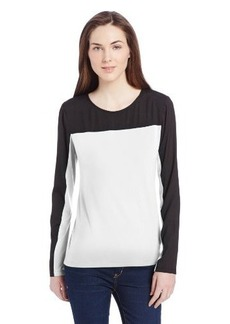 Calvin Klein Women's Color-Block Sheer-Sleeve Top