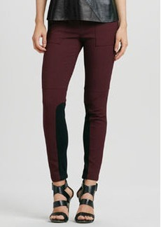 Stretch Skinny Ribbed-Panel Riding Pants   Stretch Skinny Ribbed-Panel Riding Pants