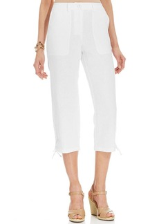 Charter Club Petite Wide-Leg Cropped Drawstring Linen Pants