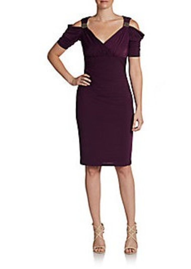 David Meister Beaded Open-Shoulder Jersey Dress