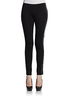 Saks Fifth Avenue BLACK Faux Leather Tuxedo Striped Leggings