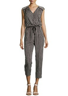 Max Studio Speckled Check Jumpsuit, Black/Ivory