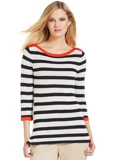Jones New York Signature Petite Three-Quarter-Sleeve Striped Knit Sweater