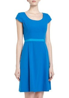 Marc New York by Andrew Marc Two-Tone Ribbon Trim Fit-And-Flare Dress, Blue Jay