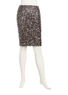 Lafayette 148 New York Stratosphere Sequined Slim Skirt, Silver