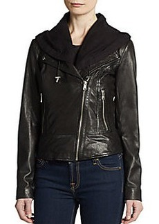 MARC NEW YORK by ANDREW MARC Violet Hooded Leather Jacket