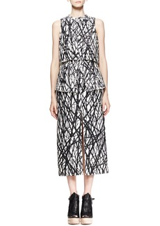 Proenza Schouler Printed Layered Peplum Dress