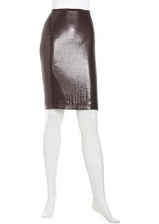 Lafayette 148 New York Georgette Sequined Silk Slim Skirt, Espresso