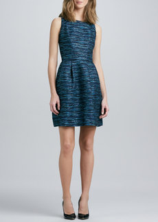 Shoshanna Jewel-Neck Sleeveless Jacquard Dress