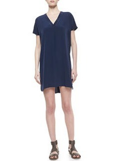 V-Neck Short-Sleeve Silk Dress   V-Neck Short-Sleeve Silk Dress