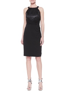 David Meister Halter Sequined Jersey Dress